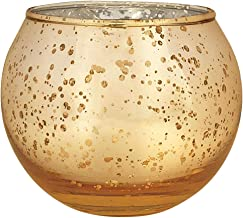 "Just Artifacts Round Mercury Glass Votive Candle Holders 2"" H Speckled Gold (Set of 100) - Mercury Glass Votive Candle Hol..."