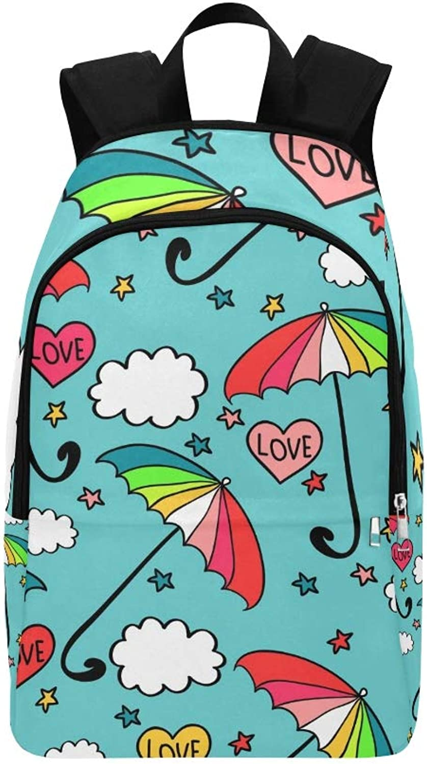 Cute colorful Umbrellas Casual Daypack Travel Bag College School Backpack for Mens and Women