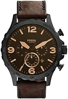 Fossil Men's Brown Dial Leather Band Watch - JR1487