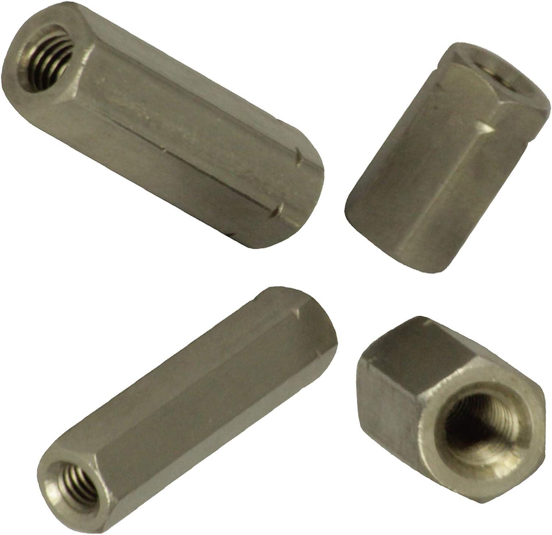 BiBa-Schrauben Gewindemuffen M8 x 40 sechskant SW13 5 St/ück Edelstahl A2 V2A VA Distanzmuttern Verbindungsmuttern Langmuttern