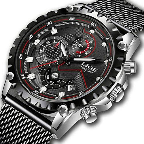LIGE Relojes para Hombre Militar Impermeable Negro Acero Inoxidable Malla Reloj de Pulsera Clásico Negocios Cronógrafo Relojes de Cuarzo para Hombres