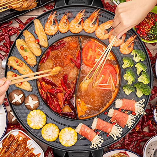 2200W 4.5L Electric Smokeless Grill and Hot Pot, 110V 2 in 1 Detachable Easy to Clean BBQ & Shabu Shabu with Independent Temperature Control for 2-8 People Family Gathering Friend Meeting Party
