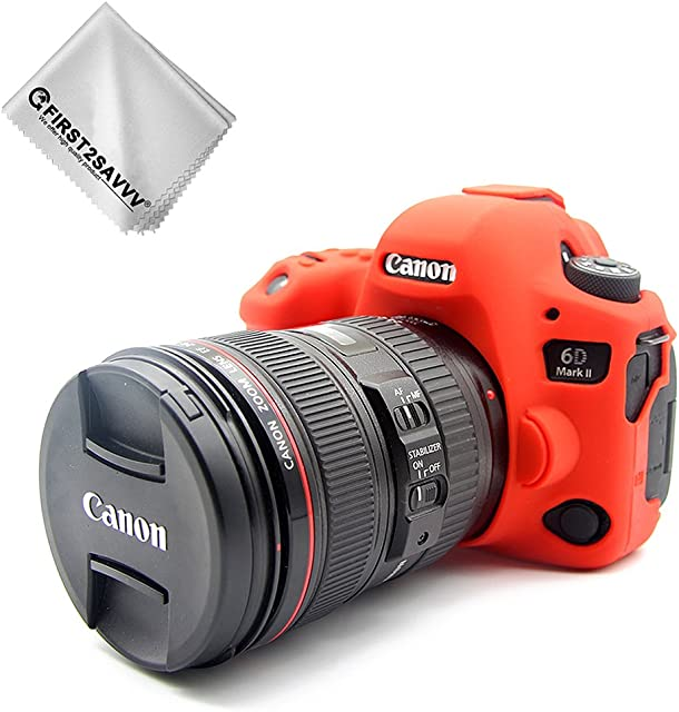 First2savvv Rojo Cuerpo Completo Caucho de TPU Funda Estuche Silicona para cámara para Canon EOS 6D Mark II 6D MK II + paño de Limpieza XJPT-6D Mark II-GJ-08G11