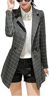 Womens Vintage Check Plaid Long Sleeve Casual Long Jacket Blazer
