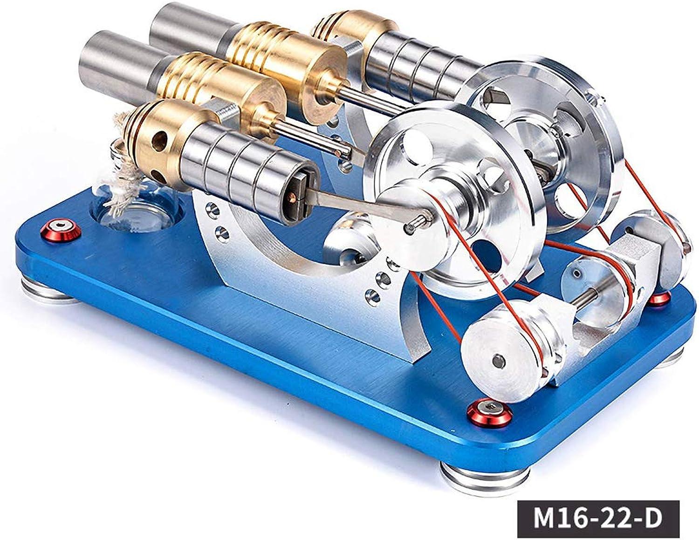 Modèle de Moteur Stirling à Quatre cylindres, modèle mécanique à Deux cylindres, OrneHommests décoratifs, générateur de Jouets à intérêt Scientifique en éducation avec Lampes à LED,M1622D