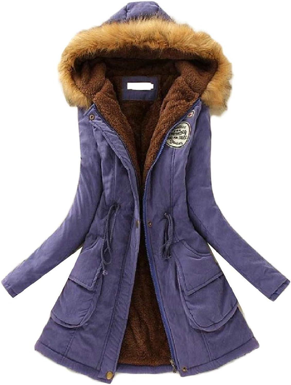 TDCACA Womens FauxFur Collar Mid Long Drawstring Hoodies Thick Down Jacket Coat