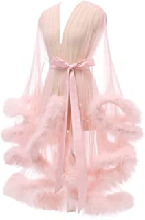 Sexy Feather Robe Illusion High Low Boudoir Robe Nightgown Bathrobe Bridal Lingerie Wedding Scarf