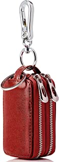 Key Case BaouBow Car Key Holder Genuine Leather Zipper Key Chain Wallet With Double Deck For Men Women