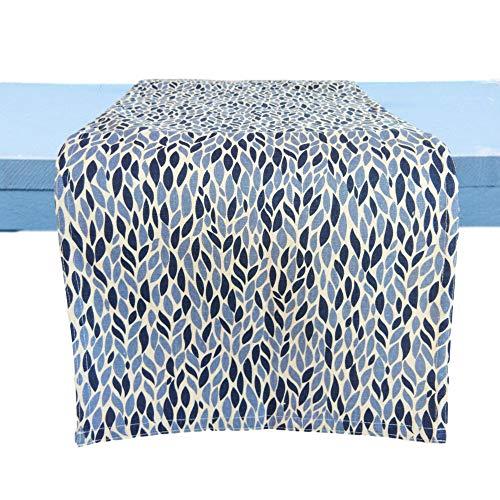 CUSHYSTORE Leave Garden Grains Tischläufer Landhaus rustikales Design, 100 % Baumwolle, Marineblau, 33 x 91 cm