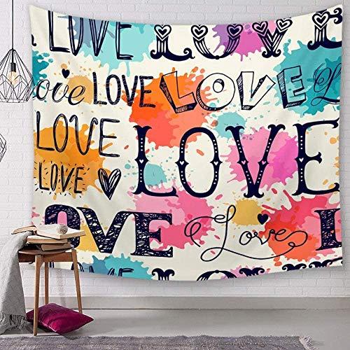 Yijiujiu Tapiz Acuarela Amor Corazón Hippie Bohemio Dibujos Animados Espiritual Impresión Moderna Tela de Gran tamaño Arte Decorativo Tela para Sala de Estar Dormitorio 150 × 130 Cm