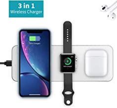 Wireless Charger for New AirPods [Upgrade], [3 in 1] i.VALUX Wireless Charging Pad for Apple iWatch Series 4/3/2, Portable Charging Station for iPhone Xs/Xs Max/XR/X,Samsung S10/S10+/S9 and More