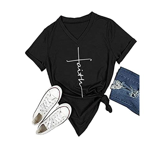 7d2d78fe90f DANVOUY Women s V-Neck Summer Casual Letters Printed Short Sleeves Graphic  T-Shirt