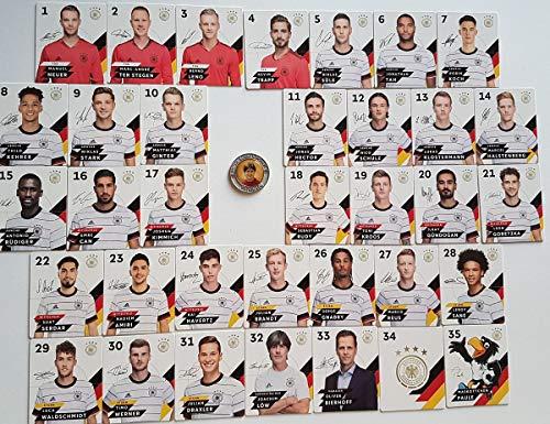 Rewe Komplettsatz EM 2020 DFB - Sammelkarten - KOMPLETT alle 35 Verschiedene Normale Karten + 1 Fußballmünze der WM 2006 - Joachim Löw