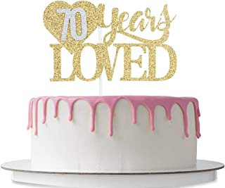 70 Years Loved Cake Topper with Loving Heart, Happy 70th Birthday, 70th Wedding Anniversary Party Decoration Supplies, Cheers to 70 Years, 70 Years Blessed, Double Color Gold and Silver Glitter