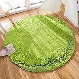 HEXIN alfombras mullidas de Interior súper Suaves y mullidas de Terciopelo Linda Alfombra de Dormitorio mullidaAdecuado para salón Dormitorio baño sofá Silla cojín(Verde,100x100cm)