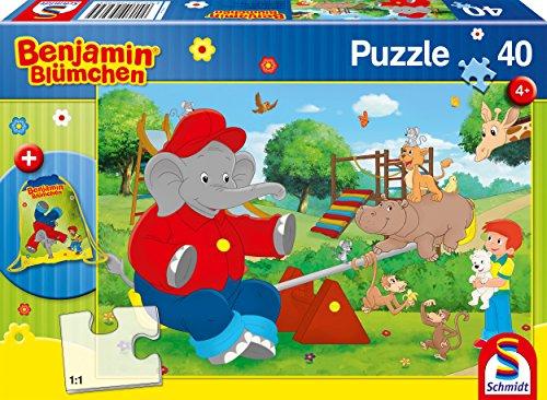 Schmidt Spiele 56262 56262-Benjamin Blümchen, Kinderpuzzle mit Turnbeutel, 40 Teile, bunt