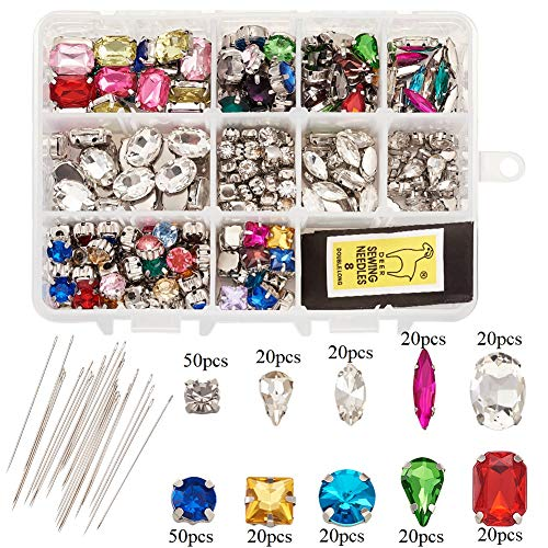 Kissitty 260pcs/box Sew On Rhinestones Mixed Color Flatback Crystal Gems with Iron Sewing Needles for DIY Project Clothing Dress Decorations