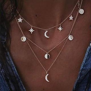 Handcess Boho - Collana a strati in oro a mezzaluna con ciondolo a stella e moneta, con cristalli per donne e ragazze
