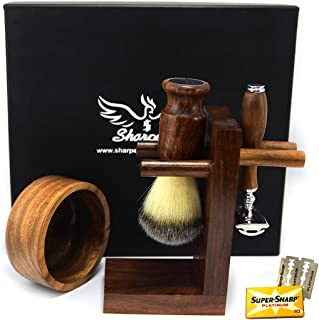 Premium Shaving Set for Men Gift with Luxury Brush, Stand and Bowl with Manual safety Razor - Shaving Kit for Gentleman We...