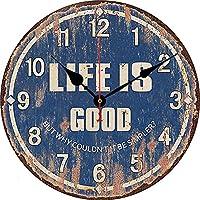 34センチラウンドぶら下げローマ数字壁時計モダンデザインレトロスタイル非ティックミュートアンティーク木材壁掛けホームキッチンオフィス壁時計,E