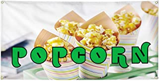 Set of 2 6 Grommets Vinyl Banner Sign Caramel Corn #1 Style B Retail Outdoor Marketing Advertising White 32inx80in Multiple Sizes Available