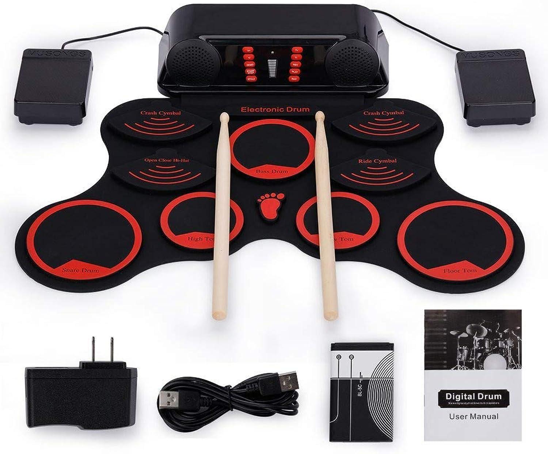 JFJL Roll Up Drum Kit   Elektronisches Schlagzeug mit übungsblock 10   Eingebaute Lautsprecher   Kopfhreranschluss   2 Fupedale   Drum Stick enthalten   Geburtstagsgeschenk für Kinder