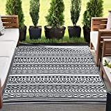 Anubis Reversible Plastic Straw Large Outdoor Rug 9x12 for Patios Garden Picnic Camping Mats Waterproof and Washable