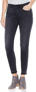 Womens Black Released Hem Five-Pocket Ankle Jeans in Coal Wash