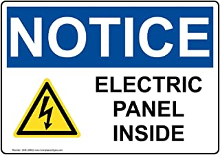 Notice Electric Panel Inside OSHA Label Decal, 5x3.5 inch 4-Pack Vinyl for Electrical by ComplianceSigns