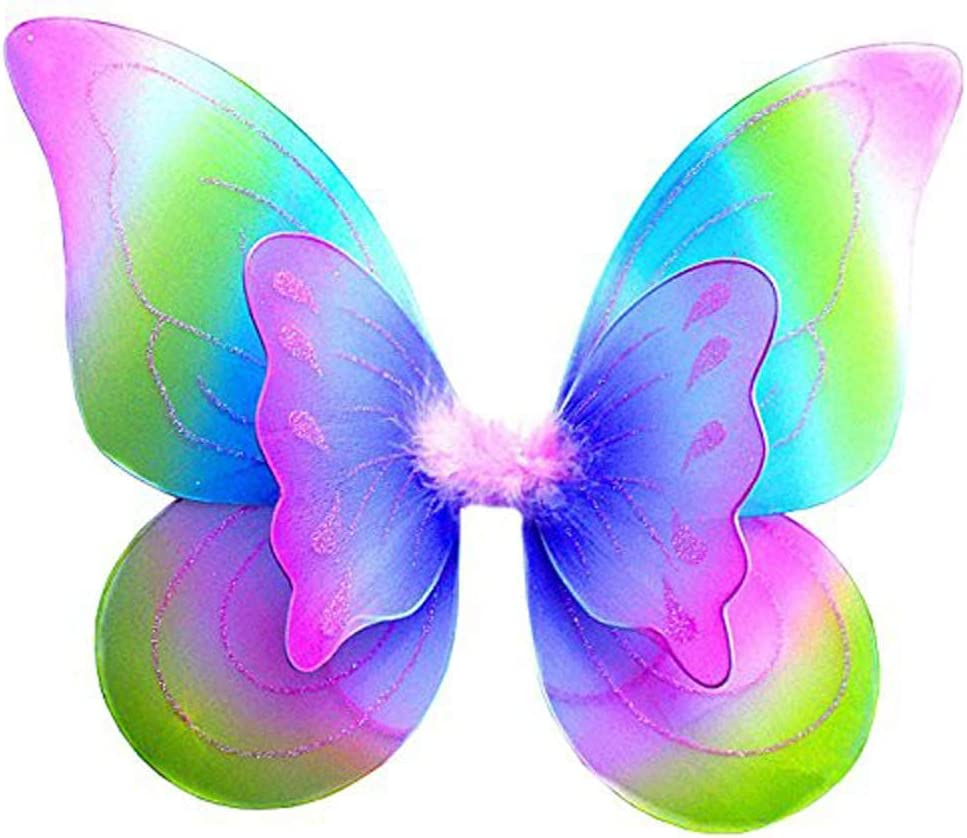 Girls Fairy Colorful Butterfly Wings Show Props Glitter Rainbow Multi Coloured Wings Fancy Dress Kids Halloween Party Dressing Up Costume Tookie Butterfly Wings
