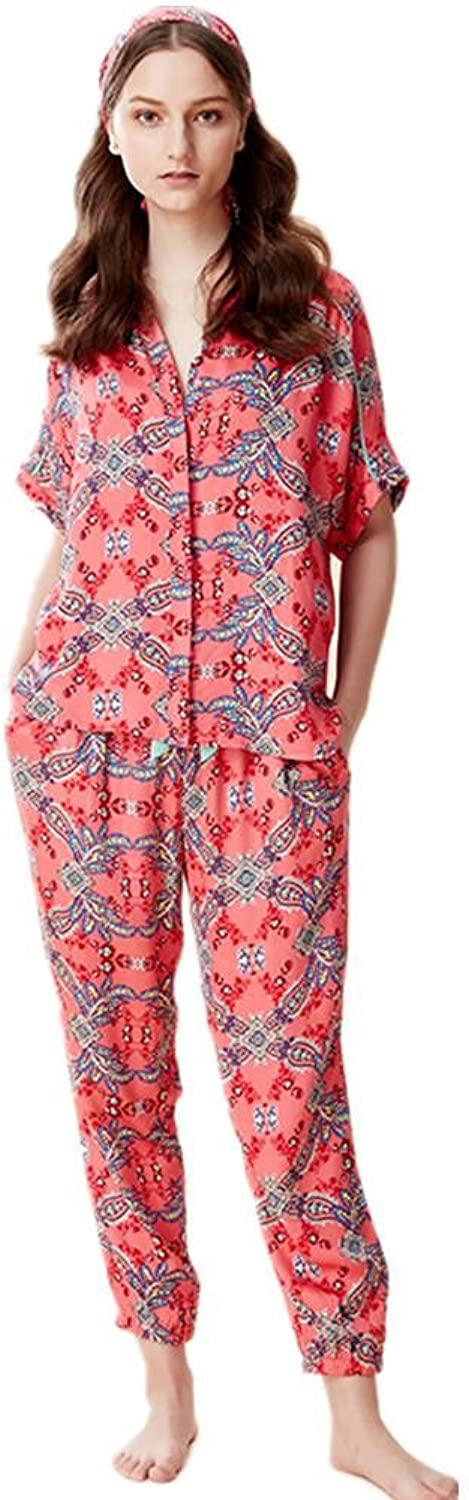 DMMSS Ladies Cotton Loose Pajamas Suit Summer Mother Thin Section Short Sleeve + Trousers Home Service 2 Sets