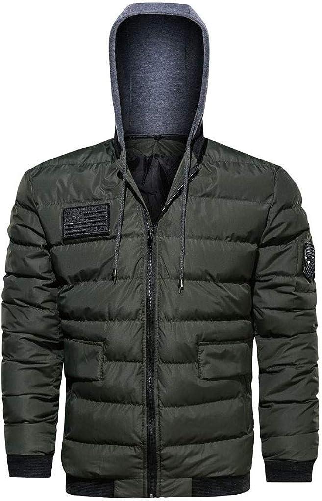 Winter Puffer Jacket Bomber Jacket Men NRUTUP Down Coat Hooded Varsity Jacket Padding Quilted Active Overcoat