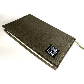 日本製 ブックカバー 文庫本 帆布 手作り 手帳カバー (グリーン)