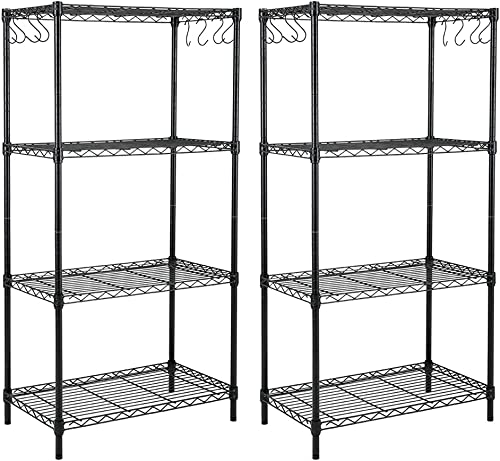popular EFINE 2-Pack 4-Shelf Shelving Unit with 8 Hooks, Adjustable, Carbon Steel Wire Shelves, 150lbs Loading Capacity Per Shelf, Shelving Units outlet online sale and outlet sale Storage for Kitchen and Garage (23.6W x 14D x 47H) outlet online sale