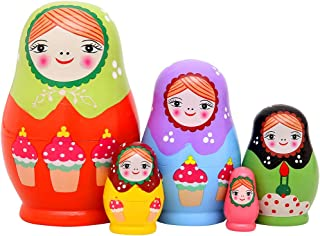 "Monnmo 5Pcs Handmade Wooden Russian Nesting Dolls Matryoshka Dolls - Stacking Doll Set of 5 from 4.3"" Tall (Green)"