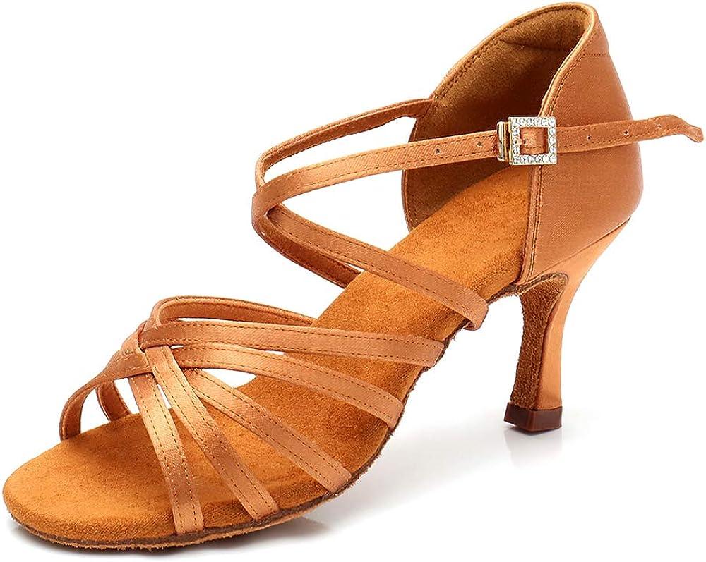RoseMoli Women's Latin Dance Shoes Satin Professional Ballroom Salsa Practice Performance Dance Shoes