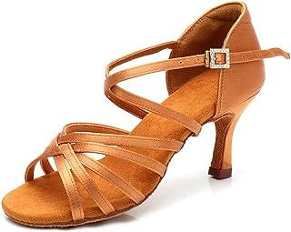 حذاء رقص لاتيني للسيدات من ANDONE مقاوم للصباغ احترافي للصالات أثناء الرقص في صالة الرقص