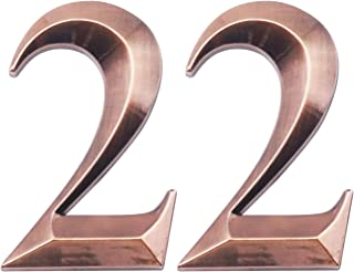Two Pieces House Numbers, 3D Self-Adhesive Mailbox Numbers, Address Numbers for Apartment, Hotel, Door, Room Waterproof, Shiny Antique Brass Numbers 2