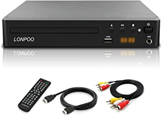 LONPOO Compact DVD Player with No Freeze,Anti-Skip,Noise Cancellation,Support HDMI & AV Output, All Region Free Player for...