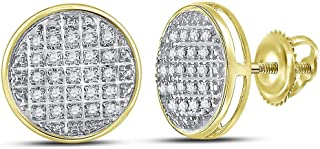 5d34643a4 10kt Yellow Gold Mens Round Diamond Circle Cluster Stud Earrings 1/8 Cttw