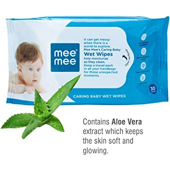 Mee Mee Caring Baby Wet Wipes with Aloe Vera (30 Pcs)