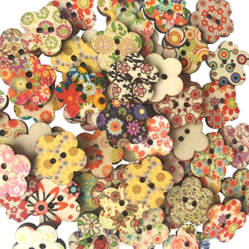 100 piezas de color mezclado estampado de flores botones de madera para los sujetadores de bricolaje con botones de amor para decoración de costura Artesanía Decoración