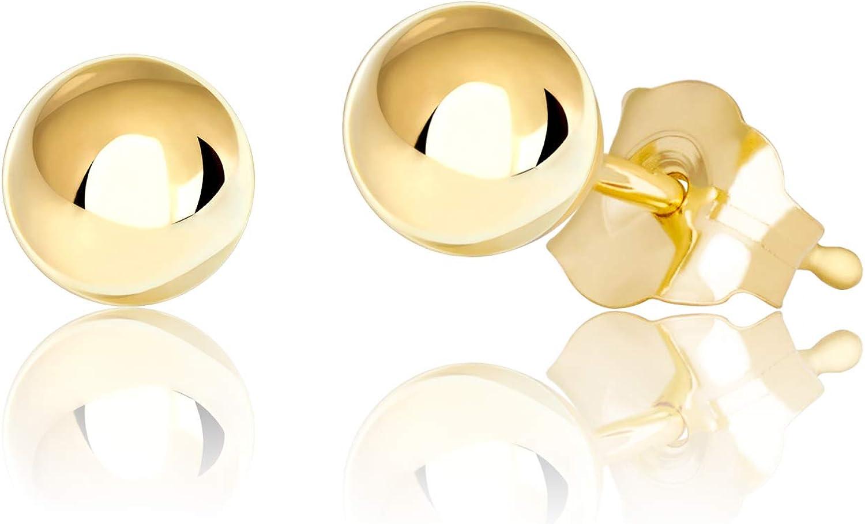 14K Gold Ball Stud Earrings, 2mm - 10mm