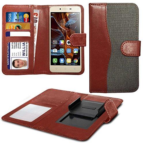 N4U Online Grey Clip On Dual Fibre Book Wallet Case Cover For Lenovo A536