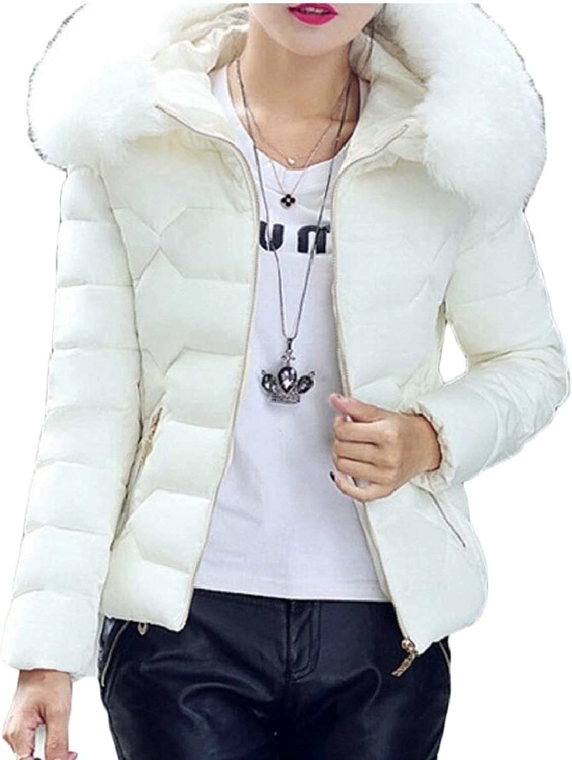 LEISHOP Women's Fashion Down Coats Cotton Parka Fur Faux Hooded Quilted Coat