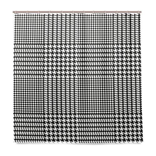Wasserdichter Duschvorhang für den täglichen Gebrauch Hahnentritt-geometrisches Muster Badezimmer-Set Duschvorhang aus Polyestergewebe mit Haken