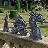 Gartendeko Drache Harz Gotisch Gartenstatuen, Drache Tierfiguren Tierstatuen Gartenfiguren, Glücksdrache Drache Garten Figur Fantasy, Ornamente für Terrasse Vorgarten Rasen (B)