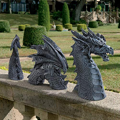 Large Dragon Gothic Garden Decor Statue - The Dragon of Falkenberg Castle Moat Lawn Statue, Garden Sculptures & Statues, Frost and Winter-Resistant Statue for Garden, Yard Art Ornaments (Black)