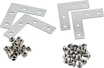 PZRT Aluminum Profile Connector Bracket Set,4Pcs L Shape Connector, 16Pcs M5 T-Slot Nuts, 16Pcs M5x8mm Hex Socket Cap Screw Bolt,for 6mm Slot 2020 Series Aluminum Profile