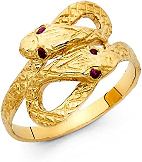 CZ Snake Ring Solid 14k Yellow Gold Serpent Band Curve Diamond Cut Stylish Polished Finish Fancy